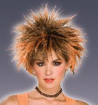 80's Spiked Punk Wig - Orange/Black
